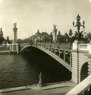 France Paris Pont Alexandre III Ancienne NPG Stereo Photo 1900 - Stereoscopic