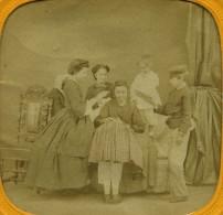 France Paris Enfants Le Jeu De La Main Chaude Ancienne Photo Stereo Tissue 1865 - Stereoscopic