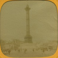 France Paris Instantane La Colonne De Juillet Ancienne Photo Stereo Tissue 1865 - Stereoscopic