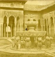 Espagne Grenade Palais De L Alhambra Cour Des Lions Ancienne Photo Stereo 1865 - Photos Stéréoscopiques