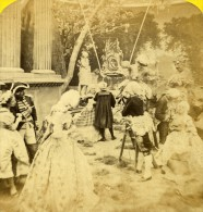 France Paris Mode De La Cour Sous Louis XV Ancienne Photo Stereo Gaudin 1865 - Stereoscopic