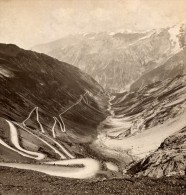 Italie Col Du Stelvio Panorama Ancienne Photo Stereo Wurthle 1890 - Stereoscopic