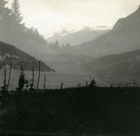 Suisse Lac De Thoune Surimpression Double Exposition Ancienne Photo Stereo Possemiers 1920 - Stereoscopic