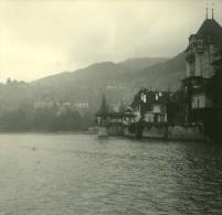 Suisse Lac De Thoune Château Oberhofen Ancienne Photo Stereo Possemiers 1920