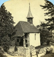 Suisse Kusmacht Chapelle De Guillaume Tell Ancienne Photo Stereo Ad. Braun 1865 - Stereoscopic