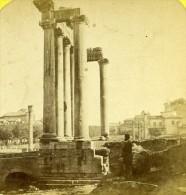 Italie Rome Ruines Du Temple De Saturne Ancienne Photo Stereo Lamy 1865 - Stereoscoop