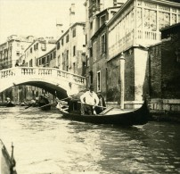 Italie Venise Une Noce En Gondole Ancienne Photo Stereo Possemiers 1908 - Stereoscopic