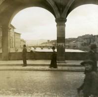 Italie Florence Sur Le Ponte Vecchio Vu Sur L Arno Ancienne Photo Stereo Possemiers 1908 - Stereoscopic