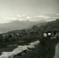 France Corse Col De Lavo Panorama Ancienne Stereo Photo Amateur 1920 - Photos Stéréoscopiques