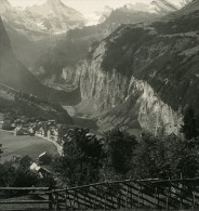 Suisse Wengen Panorama Ancienne Werhli Stereo Photo 1906 - Stereoscopic
