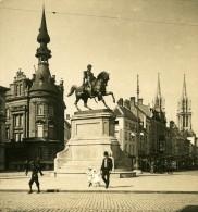 Belgique Port D Anvers Statue De Leopold I Ancienne NPG Stereo Photo 1906 - Stereoscopic