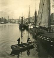 Belgique Port D Anvers Bassin Des Bateliers Ancienne NPG Stereo Photo 1906 - Photos Stéréoscopiques