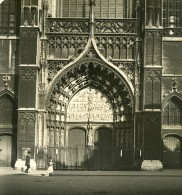 Belgique Port D Anvers Cathedrale Portail Ancienne NPG Stereo Photo 1906 - Stereoscopic