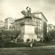 Italie Port De Gênes Statue Victor Emmanuel Ancienne NPG Stereo Photo 1906 - Stereoscopic