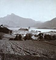 Autriche Salzkammergut Mondsee Ancienne Wurthle Stereo Photo 1906 - Stereoscopic