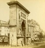 France Paris Porte Saint Denis Ancienne Stereo Photo 1875 - Stereoscopic