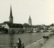Suisse Zurich Quai Ancienne Stereo Photo Stereoscope 1900 - Photos Stéréoscopiques