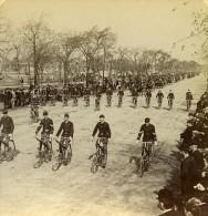 USA Chicago Club De Velocipediste Cyclistes Grand Boulevard Ancienne Stereo Photo Stereoscope 1900 - Stereoscopic