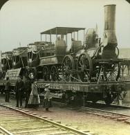 USA Le Premier Train Americain Ancienne Stereo Photo Stereoscope ASC 1900 - Stereoscopic
