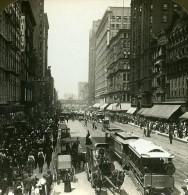 USA Chicago Rue Principale Ancienne Stereo Photo Stereoscope White 1900 - Stereoscopic