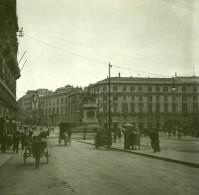 Italie Naples Place Du Municipio Ancienne Stereo Photo Stereoscope Possemiers 1910 - Stereoscopic