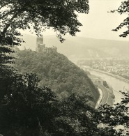 Allemagne Le Rhin Château De Lahneck Ancienne Stereo Photo Stereoscope NPG 1900