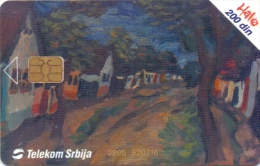 SERBIA PHONECARD(CHIP) PAINTING-200000pcs-9/03 -USED(1) - Montenegro