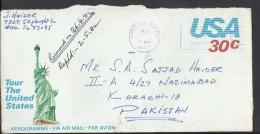 USA Aerogramme Statue Of Liberty 1982 30c, Slogan Cancel, Posted From USA To Pakistan. - Brieven En Documenten