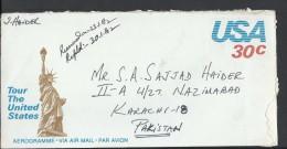 USA Aerogramme Statue Of Liberty 1982 30c, Posted From USA To Pakistan. - Brieven En Documenten
