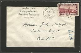 LETTRE DE SARRE 1927 AVEC N� 113 TTB