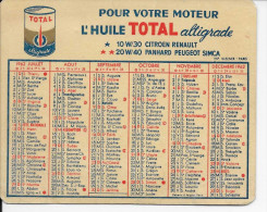 AUTOMOBILE  HUILE TOTAL  PETIT CALENDRIER ANNEE 1962  100 X 80 Mm - Calendriers