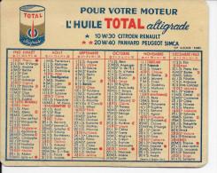 AUTOMOBILE  HUILE TOTAL  PETIT CALENDRIER ANNEE 1962  100 X 80 Mm - Calendars