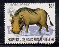 Burundi Used Scott #596a 50fr Warthog - Wildlife With World Wildlife Fund Silver Emblem - Corner Fault, Crease - 1980-89: Oblitérés