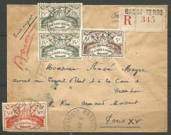 LETTRE RECOMMANDE DE BASSE-TERRE GUADELOUPE   AVEC N� 181 / 190 / 195 TTB