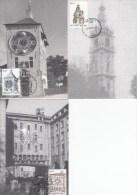 België, Maximumkaarten, Nr 3396/3398 (6072) - Horloges