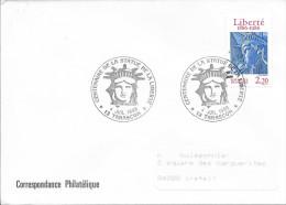 TIMBRE N° 2421 - 1ER JOUR D'EMISSION FRANCE  -  1986  -  CENTENAIRE STATUE LIBERTE  - AU TARIF -  SEUL SUR LETTRE - FDC