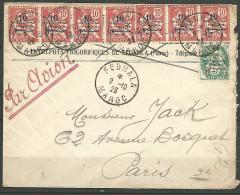 LETTRE DE FEDHALA /  MAROC OBL 1923 AVEC N� 40 ET 41 TB