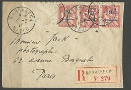 LETTRE RECOMMANDE /  MAROC OBL 1914 AVEC N� 29 TB