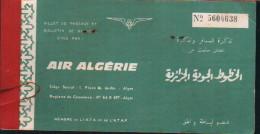 AIR-ALGERIE -Billet de passage et bulletin de bagages