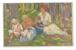 12337 -  Femme Et Enfants Dans La Forêt Pour La Jeunesse - Autres Illustrateurs