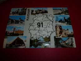 91  Carte Geographique Departement ESSONNE  NON Circulee Edit CIM  Multivue Longjumeau Massy Corbeil Brunoy Savigny - France