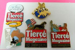 5 Pin´s - Tiercé Magazine - Prix D´Amérique - Hippique - Chevaux - Parc National - Je Porte Bonheur - SRD - Pin's & Anstecknadeln