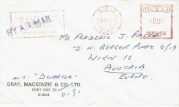 """Dubai 1980 Meter Franking With Slogan Tanker Supply Service Pitney Bowes """"Automax"""" Cover - Dubai"""