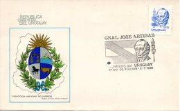 URUGUAY. N°1085 De 1981 Sur Enveloppe 1er Jour. Général Artigas. - Militares