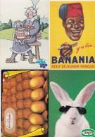 LOT 4 CPM 10x15  PUB  ALIMENTATION : 1x Conserves CASSEGRAIN +1x Madeleines De COMMERCY + 1x BANANIA + 1x Mamie NOVA - Werbepostkarten