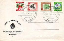 URUGUAY. N°623-6 De 1954 Sur Enveloppe 1er Jour Ayant Circulé. Fleurs/Rodéo. - Vegetales
