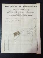 N°11 FACTURE ANCIENNE DRAPERIES ET NOUVEAUTES MAISON TONGAS  LEON AVIGNON SUCCESSEUR BEZIERS 1903 TIMBRE TAXE - 1900 – 1949