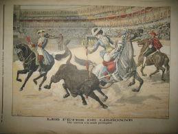 PORTUGAL ROI DON CARLOS LISBOA ARENE CORRIDA FEMME PICADOR LE PETIT JOURNAL 1905
