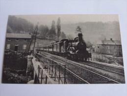 866 CHEMIN DE FER DE L ETAT BELGE .LE RAPIDE OSTENDE BALE DANS LES ARDENNES BELGES VERS 1900 MACHINE 1B1 FOYER BELPAIRE - Trains