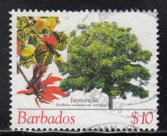 Barbados Used Scott #1092 $10 Immortelle - Trees - Barbades (1966-...)